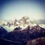 Early Morning shot of the Fitz Roy and its siblings. Blue sky but really windy