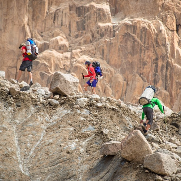 The Adventure begin... no path, delicate terrain and heavy bag packs to start with... Photo: Keith Ladzinski