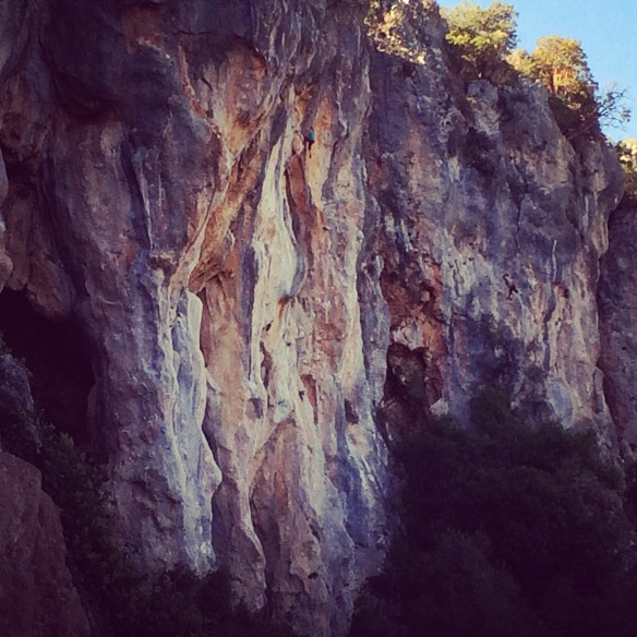 British Climber Leah Crane on one of the beautiful routes of Trebenna, Geyikbayiri