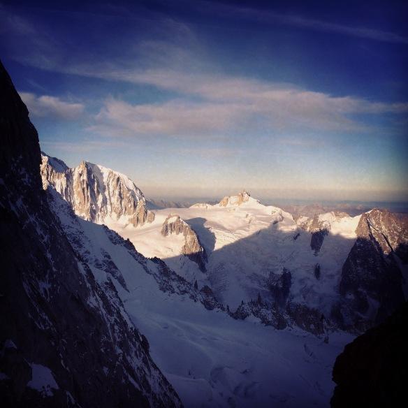 Sunrise on the Tacul and Aiguille du Midi