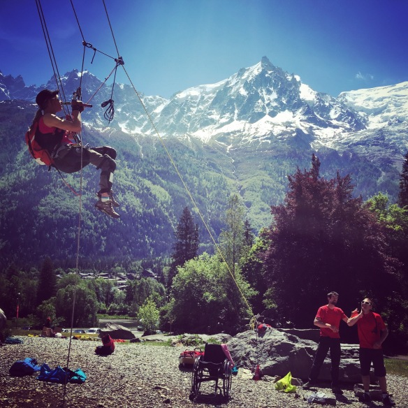 Vanessa training at the Gaillands crag in Chamonix. Not a bad view!