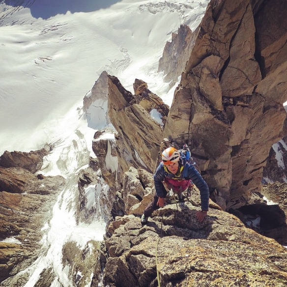 Climbing on the Arêtes du Diable, Chamonix. Photo Credit: Nils Nielsen