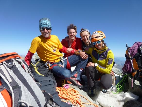 Photo du sommet avec toute l'équipe, Seb Ibanez, Pascal Ferren, Vincent Legrand et moi-même